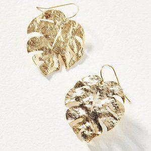new Anthropologie Monstera Leaf Drop Earrings